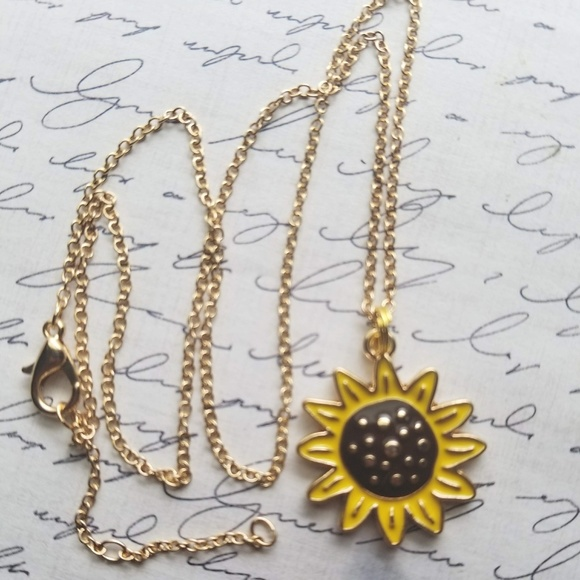 Jewelry - Gold Enamel Sunflower Pendant with Chain
